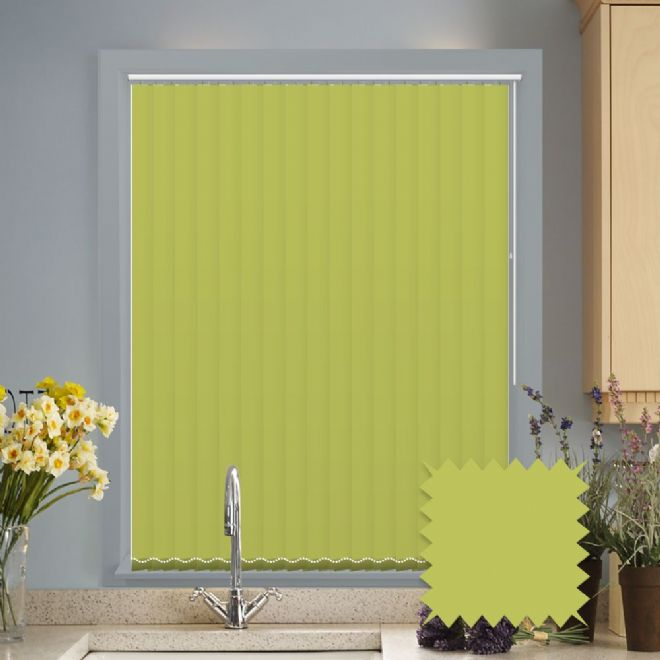 Made to measure vertical blinds in Splash Vine Green plain fabric - Just Blinds